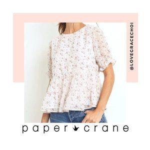 Paper Crane | White & Pink Floral Peplum Top